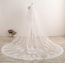 Load image into Gallery viewer, 3M Long Embroidered Lace Appliques Tulle Cathedral Veil for Wedding Wedding XHMPST10118