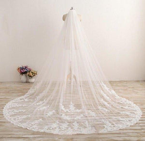 3M Long Embroidered Lace Appliques Tulle Cathedral Veil for Wedding Wedding XHMPST10118
