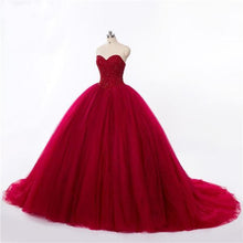 Load image into Gallery viewer, New Style Red Tulle Lace up Sweetheart Strapless Beads Ball Gown Prom Quinceanera XHMPST13051
