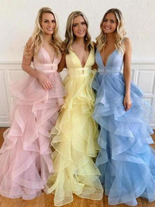 A Line Yellow Multi-layered Polka Dot Organza Prom Dresses Long Sweet 16 XHMPST15616