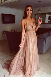A Line Spaghetti Straps V Neck Gold Prom Dresses Long Backless Evening Dresses XHMPST14842