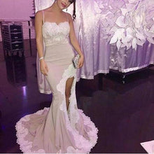 Load image into Gallery viewer, Spaghetti White Lace Sexy Mermaid Side Slit Popular Cheap Prom Dresses Bridesmaid XHMPST14070