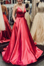 Load image into Gallery viewer, Simple V Neck Spaghetti Straps Red Satin Long Prom Dresses with Pockets Backless XHMPST14760