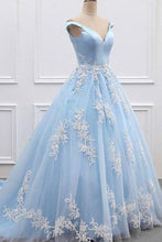 Load image into Gallery viewer, 2020 Sky Blue Appliques Charming Ball Gown Off-the-Shoulder V-Neck Prom XHMPST10100