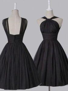 Vintage A-line Straps Knee-Length Chiffon Sash Backless Black Party Homecoming XHMPST14449