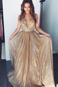 Gold Deep V-neck Prom Dresses Tulle Formal Dresses Long Cheap Evening XHMPST12286