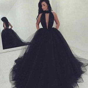 2020 Elegant Black Ball Gown Sexy Backless Long Sleeveless V-Neck Tulle Prom XHMPST10077