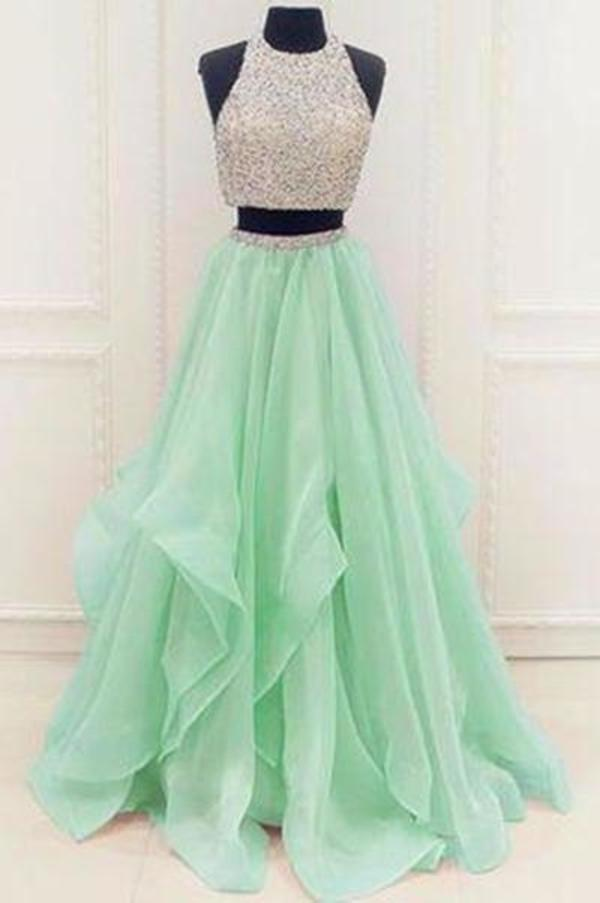 Stunning Sequins And Beaded Top Organza Ruffles Two Piece Prom Dress Prom XHMPST14132