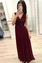 Load image into Gallery viewer, Simple Burgundy Chiffon V Neck Lace Appliques Prom Dresses Long Cheap Prom Gowns XHMPST14944