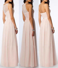 Load image into Gallery viewer, A Line Chiffon Blush Pink Formal Floor Length Cheap Bridesmaid Dresses Prom Dresses XHMPST14803