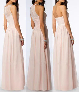 A Line Chiffon Blush Pink Formal Floor Length Cheap Bridesmaid Dresses Prom Dresses XHMPST14803