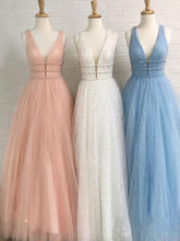 Load image into Gallery viewer, Sparkly Deep V Neck Long Beaded Backless Light Blue Prom Dresses Cheap Party XHMPST14080