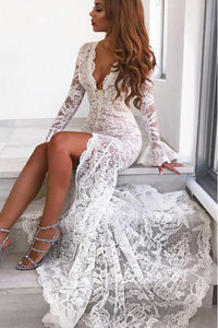 Long Sleeves Mermaid Lace V Neck Wedding Dresses with Slit Wedding XHMPST20423