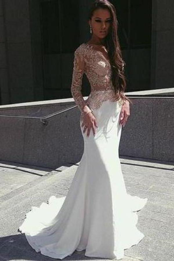 White Mermaid Long Sleeves Seen Through Long Prom XHMPST14508
