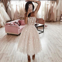 Load image into Gallery viewer, A Line Spaghetti Strap Tea Length Pearl Pink Tulle Prom Homecoming Dress With Beads XHMPST14837