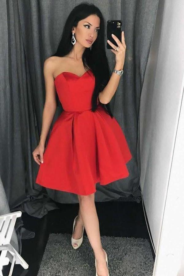 Unique A line Red Homecoming Dresses with Strapless Sweetheart Satin Prom XHMPST14305