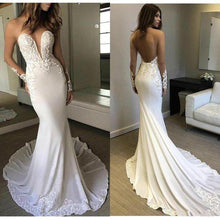 Load image into Gallery viewer, Sexy Berta Mermaid V Neck Wedding Dress Long Sleeves Open Back Wedding XHMPST13530