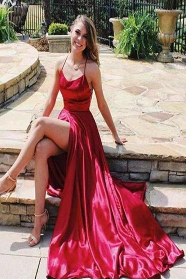 Sexy Spaghetti Straps Side Slit Red Satin Long Prom Dresses Cheap Evening XHMPST13706
