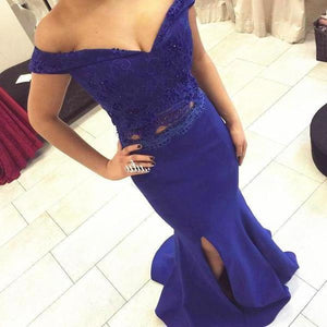 Two Piece Off the Shoulder Sweetheart Mermaid Side Split Long Royal Blue Prom XHMPST14242