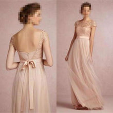 Load image into Gallery viewer, 2020 Cap Sleeve A-Line Lace Chiffon Long Elegant Backless Bridesmaid XHMPST10011