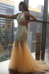 Sexy Unique Deep V Neck Mermaid Sexy Tulle Halter Backless Beads Prom XHMPST13726