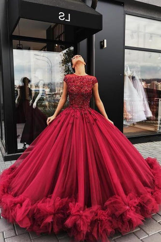 Red Tulle Appliques Ball Gown Round Neck Prom Dress Sweet 16 Dresses Quinceanera XHMPST13383