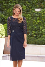 Load image into Gallery viewer, A Line Navy Blue Lace 3/4 Sleeve Short Chiffon Scoop Mother of the Bride XHMPST10381
