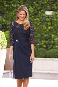 A Line Navy Blue Lace 3/4 Sleeve Short Chiffon Scoop Mother of the Bride XHMPST10381