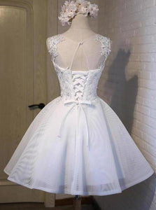 White Simple Graduation Dress Scoop Tulle Straps Homecoming Dresses with Lace XHMPST14524