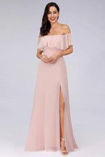 Load image into Gallery viewer, Charming Off Shoulder Ruffle Pink Chiffon Long Prom Dresses Bridesmaid Dresses XHMPST15114