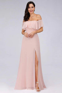 Charming Off Shoulder Ruffle Pink Chiffon Long Prom Dresses Bridesmaid Dresses XHMPST15114
