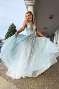 Spaghetti Straps Floral Beading Long Mint Green Prom Dress V Neck Tulle Formal XHMPST14033