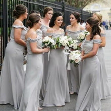 Load image into Gallery viewer, A Line Off the Shoulder Grey Chiffon Cheap Long Prom Dresses Bridesmaid XHMPST10394