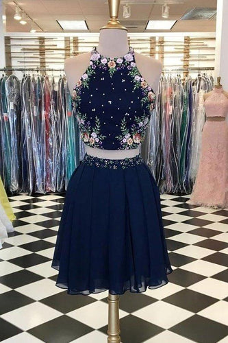Unique Dark Blue Two Piece Short Prom Dress Halter Flowers Chiffon Homecoming XHMPST14330