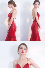Load image into Gallery viewer, V-Neck Red Mermaid Spaghetti Straps Sparkly Backless Sleeveless Sequins Evening XHMPST14433