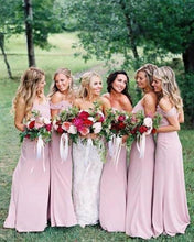 Load image into Gallery viewer, Dusty Pink Chiffon Sheath Off Shoulder Long Bridesmaid Dresses Wedding Party Dresses XHMPST15141