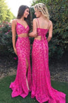 Two Pieces Mermaid Spaghetti Straps V-Neck Fuchsia Lace Split Lace up Prom XHMPST14284
