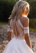 Load image into Gallery viewer, Sexy Lace Appliques High Neck Country Wedding Dresses Beach Bridal Dresses XHMPST15528