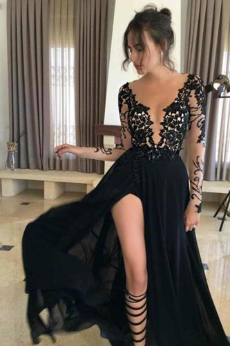 Sexy Black Long Sleeve Lace Slit V-Neck 2020 Prom Dress Evening XHMPST13540