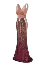 Load image into Gallery viewer, Sexy Sequins Mermaid V Neck Burgundy Velvet Long Prom Dresses Backless Evening Dress XHMPST15352