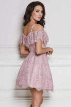Load image into Gallery viewer, A-Line Cold Shoulder Purple Lace Homecoming Party Dress with Ruffles Prom Dresses XHMPST14965