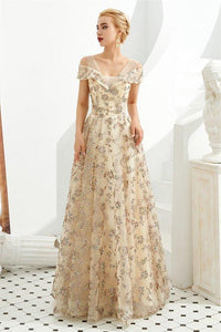 Elegant A Line V Neck Off the Shoulder Beads Prom Dresses with Lace XHMPST15642