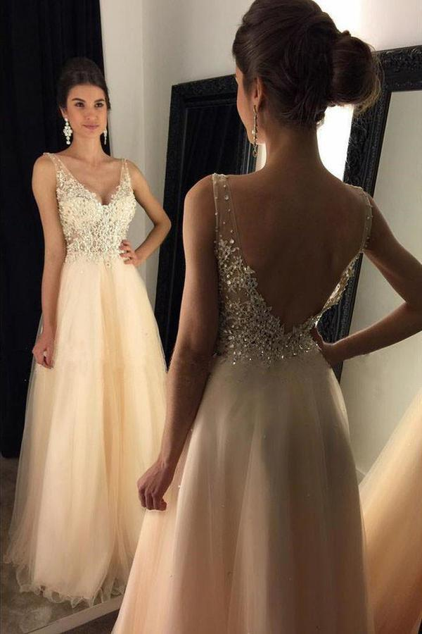 V-Neck Prom Dresses With Appliques Beaded Long A-line Tulle Prom XHMPST14430
