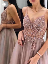 Load image into Gallery viewer, Gorgeous A-Line Spaghetti Straps V Neck Blush Tulle Prom Dresses Cheap Evening Dresses XHMPST15235