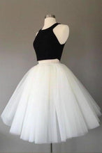 Load image into Gallery viewer, White and Black Two Pieces Tulle Cute Tutu Party Dresses Homecoming XHMPST14480