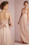 2020 Cap Sleeve A-Line Lace Chiffon Long Elegant Backless Bridesmaid XHMPST10011