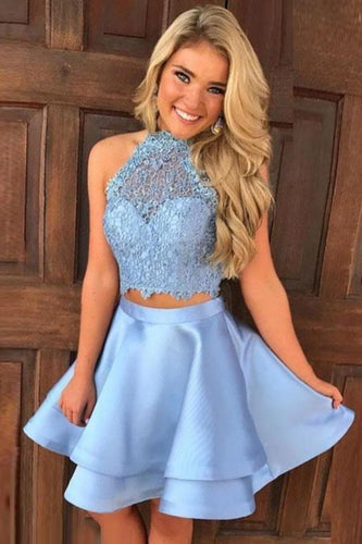 Princess Halter 2 Piece A-line Open Back Sleeveless Lace Mini Short Homecoming XHMPST13267