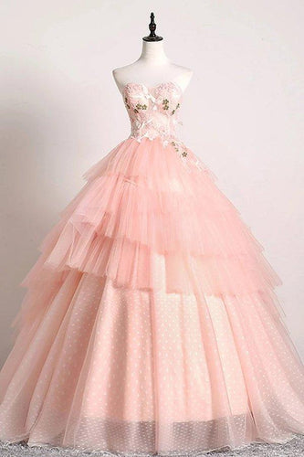 Princess Ball Gown Pink 3D Lace Multi-layered Prom Dresses Tulle Quinceanera Dresses XHMPST15292
