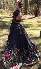 Load image into Gallery viewer, Two Piece Lace Floral Print Black Sexy Open Back Long Sleeve High Neck Prom XHMPST14239