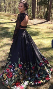 Two Piece Lace Floral Print Black Sexy Open Back Long Sleeve High Neck Prom XHMPST14239